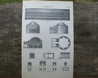 1904 - Roman Architecture Lithograph - Beautiful B&W Plate from Encyclopedia Britannica - The Colosseum - Antique Print with Great Detail