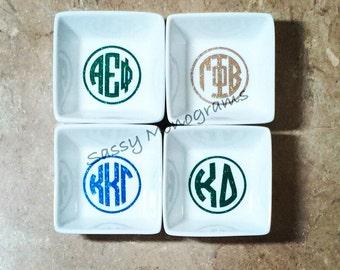 YOUR Sorority Glitter Ring Petite Jewelry Dish - Ring Dish - Jewelry Holder - Ring Bowl - Greek