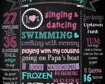 Minnie Mouse Printable Birthday Chalkboard Sign - YOU PRINT (Aqua/Pink/Purple)