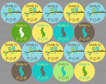 """Printable Owl Baby Shower """"About to Pop!"""" Circles - YOU PRINT"""