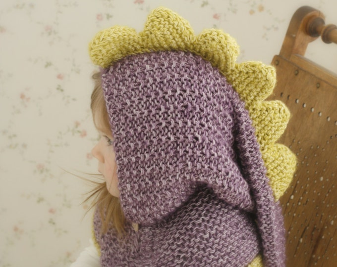 KNITTING PATTERN dragon or dinosaur long tail hooded cowl Warren (toddler/child/teen/adult sizes)