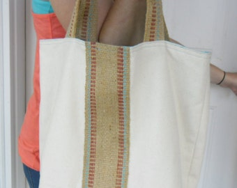 Cotton Canvas Tote with Jute Webbing, Beach Bag, Overnight Tote, Hobo Style Bag, Tote