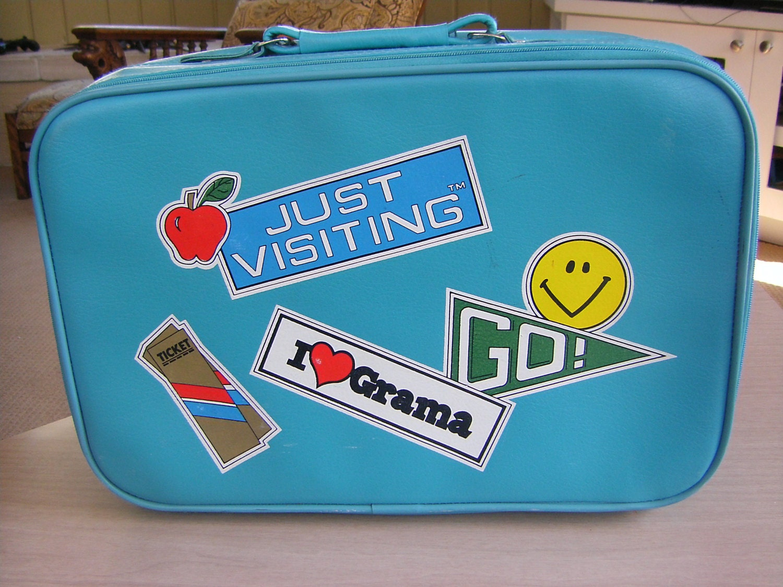 Aqua Blue Going To Grandma S Suitcase By Karensvintagecafe