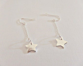Silver star earrings, Star dangle earrings, Fine silver star earrings, Small star earrings, Star earrings, Fine silver earrings, UK seller