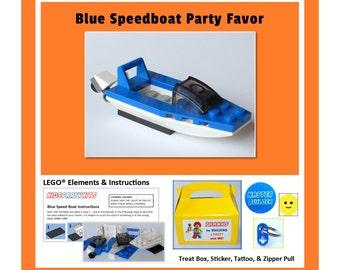 LEGO® Party Favor - Blue Speedboat & Sticker