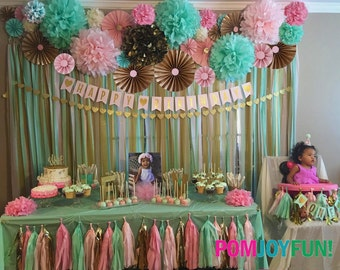 7 Poms & 6 Rosettes | Party Decor Backdrop | Fans | Pom Wheel | Paper Medallions | Weddings | Birthdays | Parties | Paper Rosettes