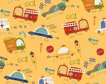 Boys Quilt Fabric, Riley Blake C4120 Yellow, On Our Way, Fire Truck, Taxi, Police Car, Ambulance, Race Car, Childrens Cotton Quilt Fabric