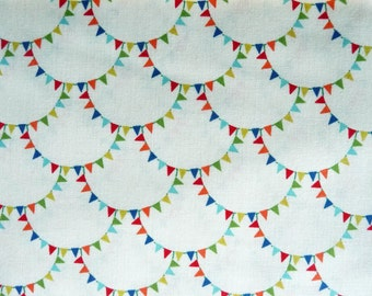 Bunting Fabric, Michael Miller CX4827 Mini Mikes Bunting Scallop Cream, Bunting Quilt Fabric, Childrens Fabric, Nursery Decor Fabric