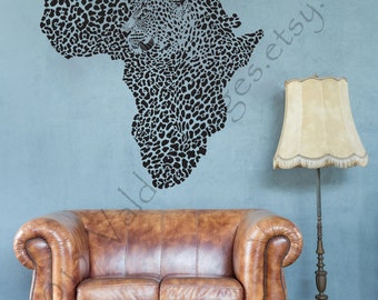 Map Of Africa With Cheetah Image Wall Decal, Wall Sticker, Leopard Print  Wall Decal