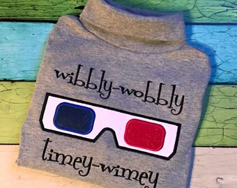 Wibbly Wobbly Timey Wimey 3D Glasses Doctor Who Inspired Applique and Embroidery Design