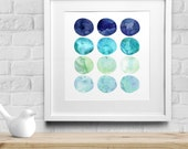 Watercolor Circles Printable, Sea Glass Style Watercolor Art, Ocean and Beach Home Decor, Modern Geometric Art, Nautical Instant Download