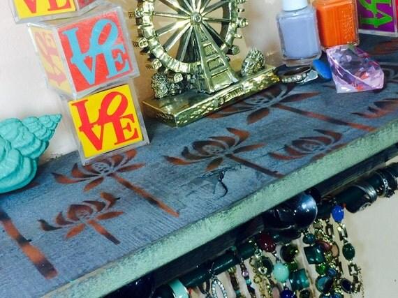 Pallet wood shelf /wall hanging organizer jewelry holder /Floating shelves /accent shelving Art Deco flowers 5 knobs, 2 hooks bracelet bar
