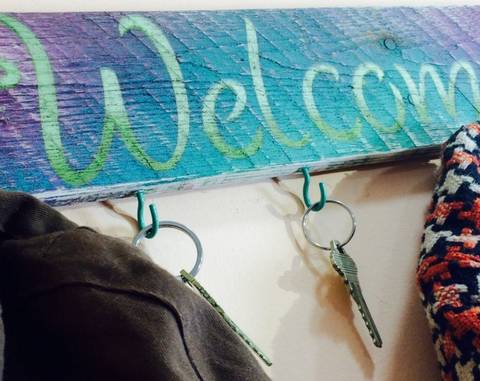 Reclaimed pallet wood wall signs /entryway decor welcome sign 5 teal hooks with feathers /mudroom wall hanging /coat rack / key holders