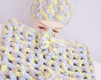 Baby Boy Cocoon and Pom Pom Beanie Set Hand Crocheted
