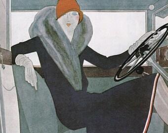 Vogue Magazine Cover Woman driving car at the wheel female driver motorist art deco art nouveau home decor print fine art