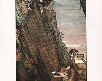 Aesops Fables Wolf and the Goat vintage illustration victorian Wolf Julius Detmold print book plate