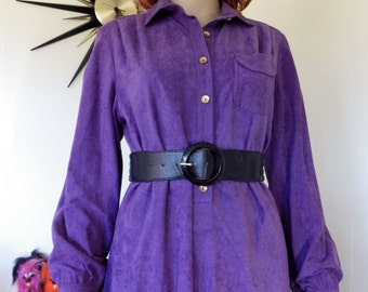 Vintage 70s purple dress - Made in Sydney Size 14 - Made in Australia