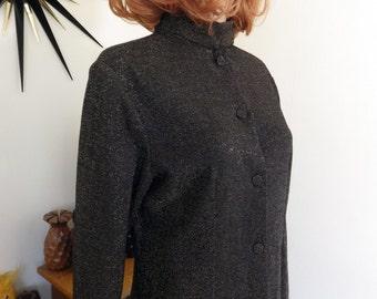 1960s / 70s vintage wool black & silver metallic lamé blouse - Made in Australia