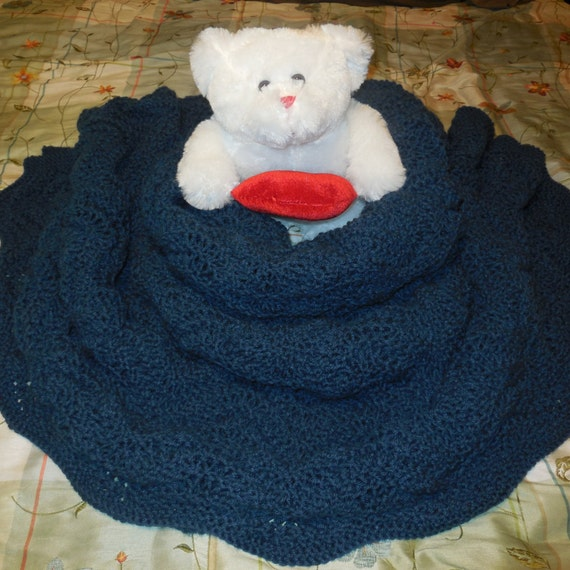 Cape Cod Blue Knitted Blanket