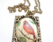 Vintage Red Cardinal Statement Pendant Necklace / Romantic / Woodland / Victorian / Bird Lover Gifts / Vintage Jewelry