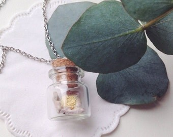 Real anemone necklace 25x22mm pendant with real dried anemone inside the glass bottle