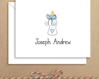 Blue Bottle Baby Note Cards - Baby Shower Thank You - Baby Thank You Notes - Illustrated Note Cards