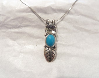 Native American Signed Silver Pendant / Necklace