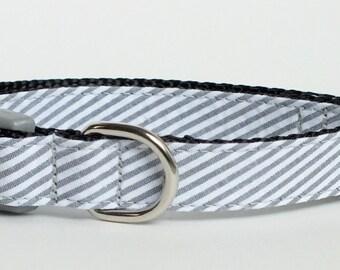 Gray Seersucker Dog Collar