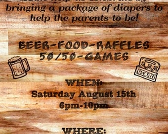 Rustic Wood Burned Diaper Party Invitation Raffle for Father Dad to Be