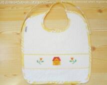 Baby bib, embroidered bib, children bib, cross stitch bib, cute bib, towel bib, yellow bib, baby shower party, baby shower gift, baby shower