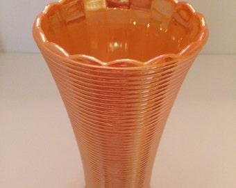 Vintage Fire-King Peach Luster on Milk Glass Vase - Manhattan Rib pattern