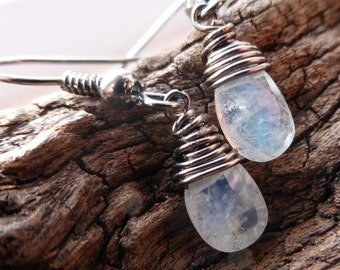 Little Rainbows - Wire Wrapped Rainbow Moonstone Briolette Gemstone Earrings