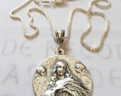 Necklace - Saint Mary Magdalene Carried by Angels - Sterling Silver Box Chain - 30mm