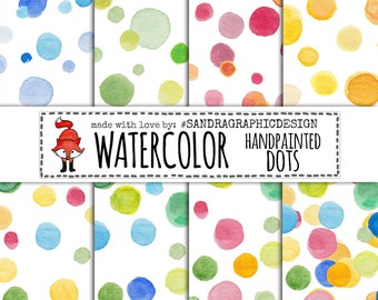 "Watercolor dots digital paper: ""HANDPAINTED DOTS"" with watercolor dots in happy colors on a white background (1239)"