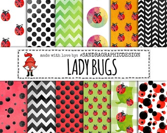 "Ladybug digital paper: ""LADYBUG"" with ladybugs backgrounds and other patterns in colors; red, green, black, white (1214)"