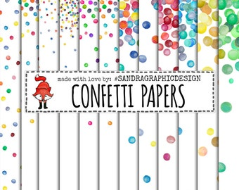 Digital paper with CONFETTI  PATTERNS in rainbow colors for scrapbooking, cards, etc (1168)