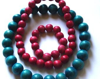 Wooden Beaded Necklace Ukrainian Style Folk wood necklace & bracelet Handmade Red Blue Hand painted Natural Wooden beads Ukrainian 80's