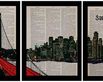 San Francisco Panorama Three Set Dictionary Art Print Bay Bridge California Triptych Wall Art Home Decor da827
