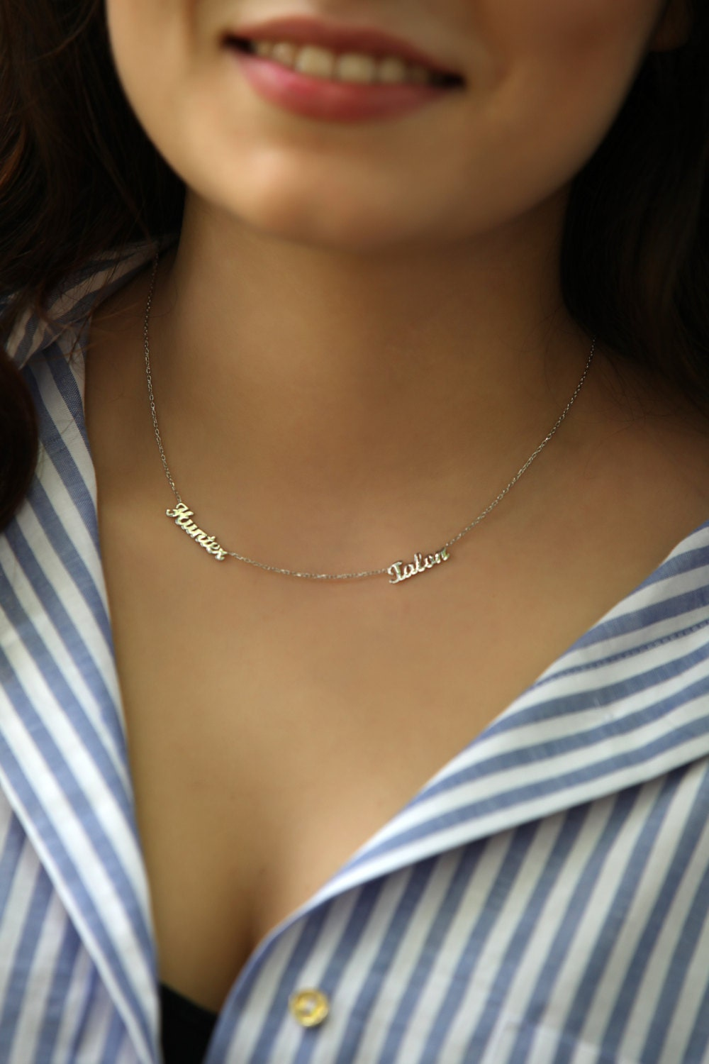 sale personalized two name necklace dainty name necklace. Black Bedroom Furniture Sets. Home Design Ideas