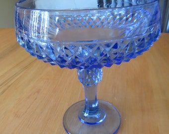 Indiana Glass, Indiana Diamond Point Blue Compote, Vintage Compote, Blue Compote, Diamond Point, Candy Dish, Compote, Vintage Glass