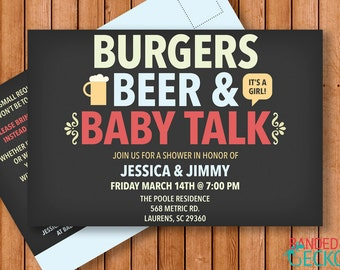 Burgers Beer and Baby Talk Couples BabyShower Invitation - Printable Digital Download