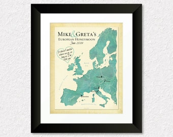 Personalized Europe Map, Travel Map of Europe, Custom Anniversary Gift, Travel Keepsake, Travel Gift for Friend, Family Present