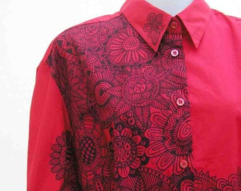 Red shirt, plus size shirt, red blouse, au 28 UK 26 US 24 shirt, hand painted blouse, art to wear shirt wearable art blouse, upcycled blouse