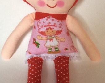 "Handmade Girl Cloth Doll 13"" Suzy Plush Softie Rag Doll Red and Pink Dress Red Felt Hair"