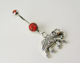 Lucky Elephant Belly Button Ring Sacred 14g Crystal AB Marigold Pink Purple Red Blue Green Black Rhinestone navel piercing body jewelry
