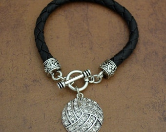 Volleyball Leather Toggle Bracelet