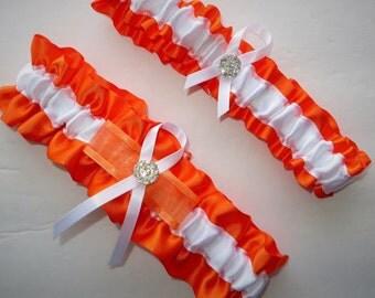 Orange and White Garter Set, Keepsake and Toss-away Garter Set, Ribbon Garter, Prom Garter, Orange Garter, Bridal Garter, Wedding Garter
