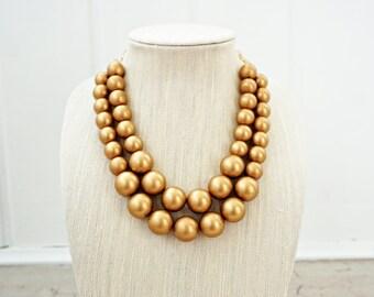 Matte Gold Bead Statement Necklace