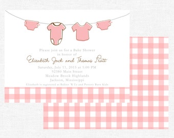 Girl clothesline baby shower invitations-FREE SHIPPING or DIY printable
