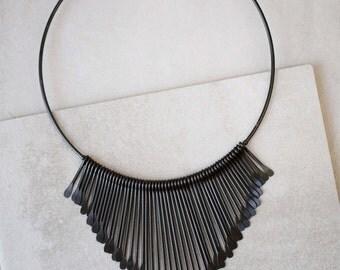 Matte Black Hanging Bars Necklace